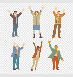 happy isolated people on transparent background vector image vector image