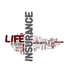 Life insurance term life or whole life text vector