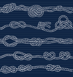 nautical seamless pattern with marine knots and vector image