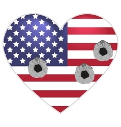 Symbol us flag heart shape bullets pierced vector