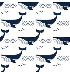 whale aquatic animal seamless vector image