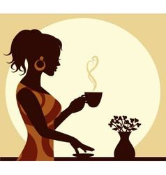 woman with a cup of steaming coffee in hand vector image vector image