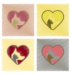 assembly flat shading style icons cat dog heart vector image