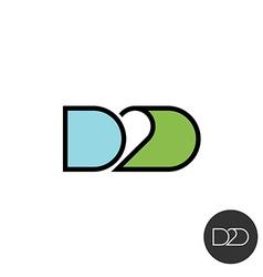 Door to door abbreviation logo Linear style with vector image vector image