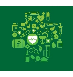 medical cross with health icon set vector image vector image
