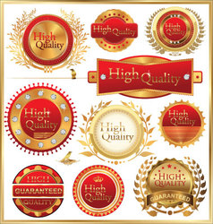 set of golden quality labels and emblems vector image