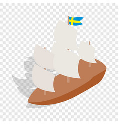 ship with swedish flag isometric icon vector image