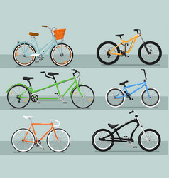 different types bicycle isolated set vector image