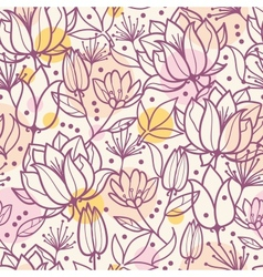 Purple line art flowers seamless pattern vector image