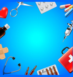 medical objects on blue background top view vector image vector image