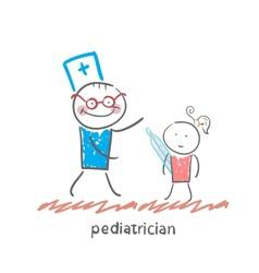 pediatrician checks the childs temperature vector image