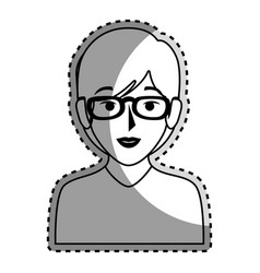 sticker silhouette of half body woman with short vector image
