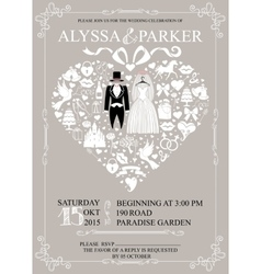 Wedding invitation with heart compositionWedding vector image vector image