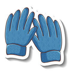 A sticker template with blue gloves isolated vector