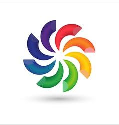 abstract circle colorful 3d logo icon design vector image