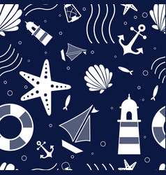 abstract doodle nautical seamless pattern vector image