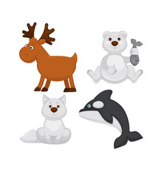 adorable baanimals from cold countries vector image