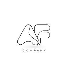 Af monogram letter logo with thin black monogram vector