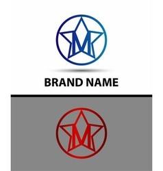 Alphabet icon M logo with star vector
