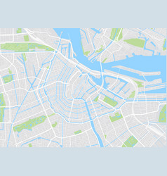 Amsterdam colored map vector