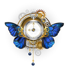 Antique clock with morpho butterfly wings vector