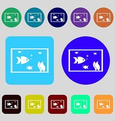 Aquarium Fish in water icon sign 12 colored vector