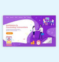 Assistance in concluding transactions webpage vector
