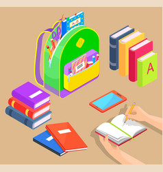 backpack with school supplies and books vector image