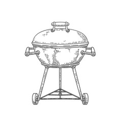 bbq grill in engraving style isolated on white vector image