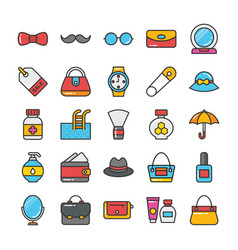 beauty and fashion colored icons set 3 vector image