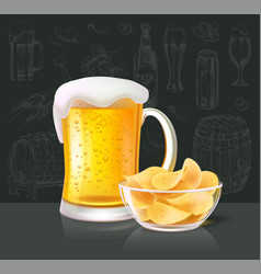 Beer alcoholic drink in glass with crisps vector