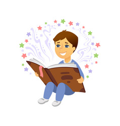 boy reading - cartoon people character isolated vector image