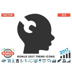 Brain Wrench Tool Flat Icon With 2017 Bonus Trend vector
