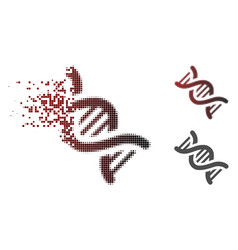 Broken dotted halftone dna icon vector