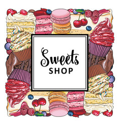 candy shop banner with pies cupcakes and cookies vector image