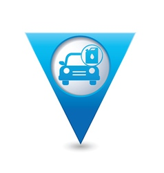 Cars oil canister BLUE triangular map pointer vector