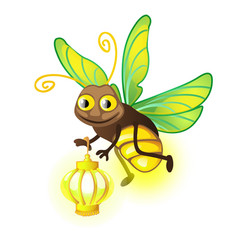 Cartoon firefly with lantern isolated on a white vector
