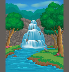 cartoon landscapes with waterfall and trees vector image