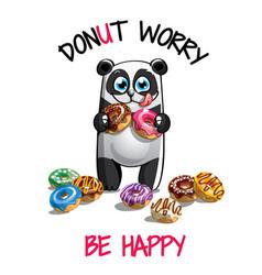 Cartoon panda with donuts vector