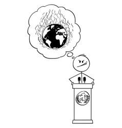 cartoon politician speaking on podium behind vector image