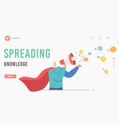 Character spread knowledge and ideas landing page vector