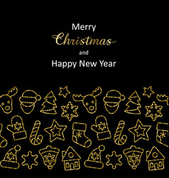 christmas and new year greeting card with gold vector image