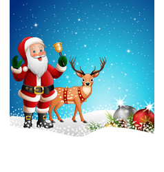 christmas background with santa claus ringing bell vector image