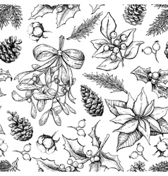 Christmas botanical seamless pattern Hand drawn vector