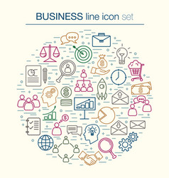 collection of thin line bussines icon vector image
