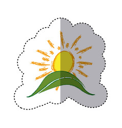Color sticker with hand drawn sun over green hill vector