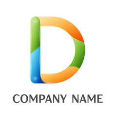 d letter colorful logo vector image vector image