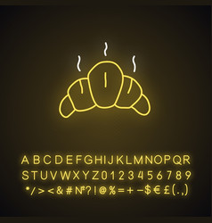 Delicious croissant neon light icon glowing sign vector