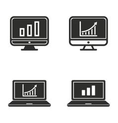 Diagram screen icon set vector image
