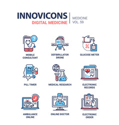 Digital medicine - line design icons set vector